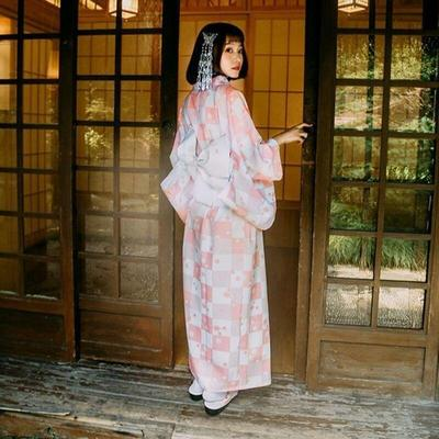 Traditional Japanese pink Kimono for Woman Ichimatsu type, back view, for streetwear, meditation or home wear