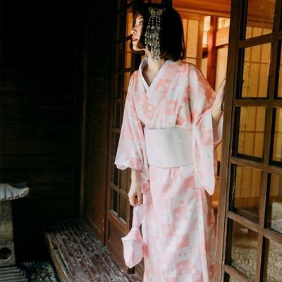 Traditional Japanese pink Kimono for Woman Ichimatsu type front view, for streetwear or home