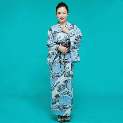 Japanese  blue Kimono Woman, The Great Wave, front view demonstration