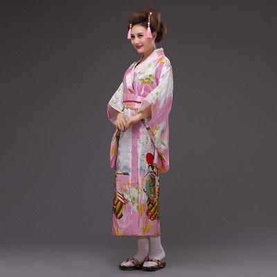 Japanese Traditional Woman pink Kimono, Bara for home, shower, lunch and summer