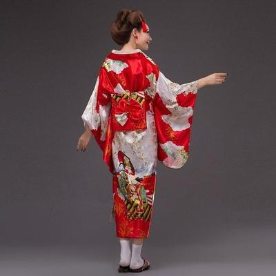 Japanese red Kimono Traditional Woman, Beniiro, back view