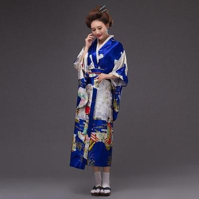 Japanese Traditional Woman blue Kimono, Konji, front view