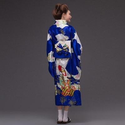 Japanese Traditional Woman blue Kimono, Konji, back view, geisha style