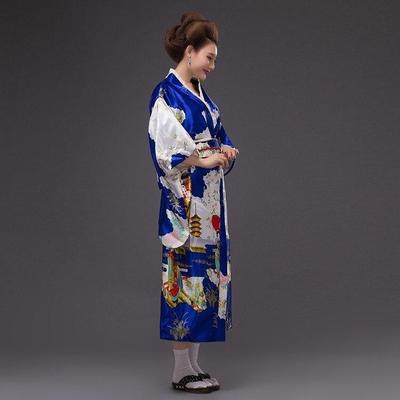 traditional Japanese Traditional blue Woman Kimono, Konji, lateral view