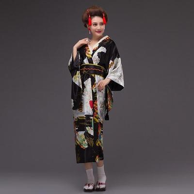 Japanese Traditional Woman black Kimono Kuro