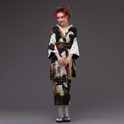 Japanese Traditional Woman black Kimono Kuro front view
