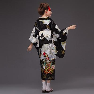 Japanese Traditional Woman black Kimono Kuro back view