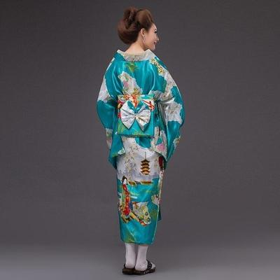 Japanese Traditional Woman blue sky Kimono, Taakoizuburuu, for streetwear