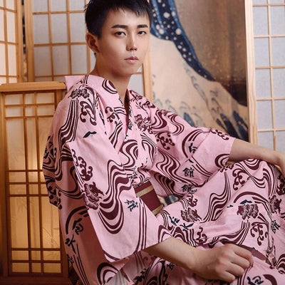 Japanese Kimono Men Pink from japan