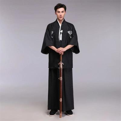 Traditional Black Japanese Kimono for Men