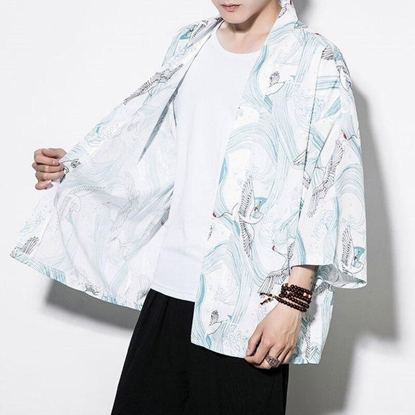 Kimono sleeve jacket opened white color front view