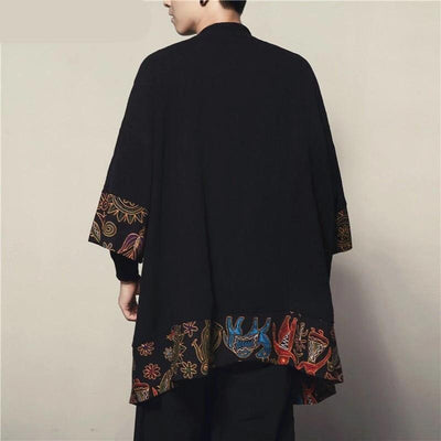 Long black and floral pattern japanese kimono jacket back view
