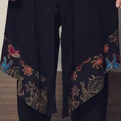 Long black and floral pattern japanese kimono jacket