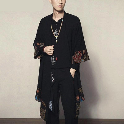 Long black and floral pattern japanese kimono jacket front view