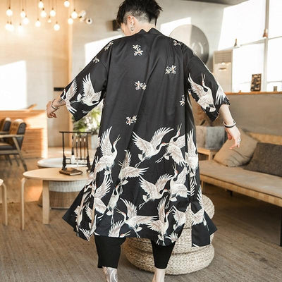 Long black kimono jacket back view