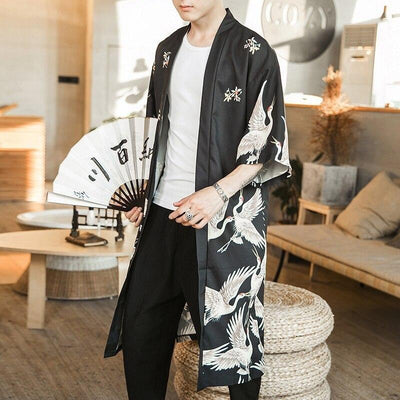 Long black kimono jacket with fan front view
