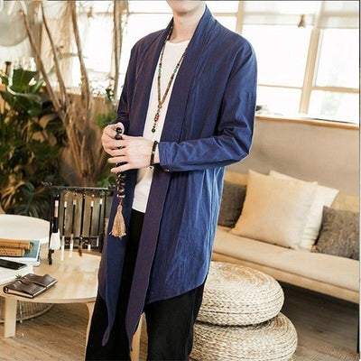 Long kimono jacket blue color front view