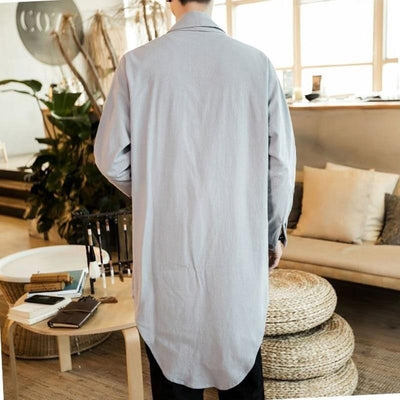 Long kimono jacket grey color back view