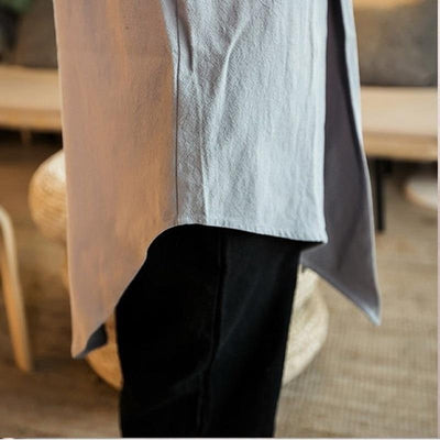 Long kimono jacket grey color close up leg view