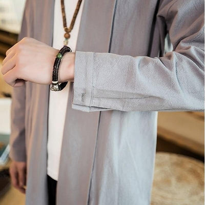 Long kimono jacket grey color close up sleeve view