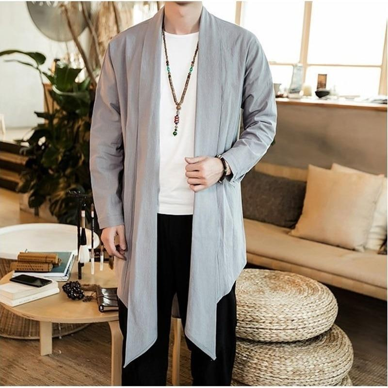 Long kimono jacket grey color front view
