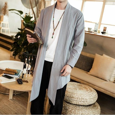 Long kimono jacket grey color lateral view