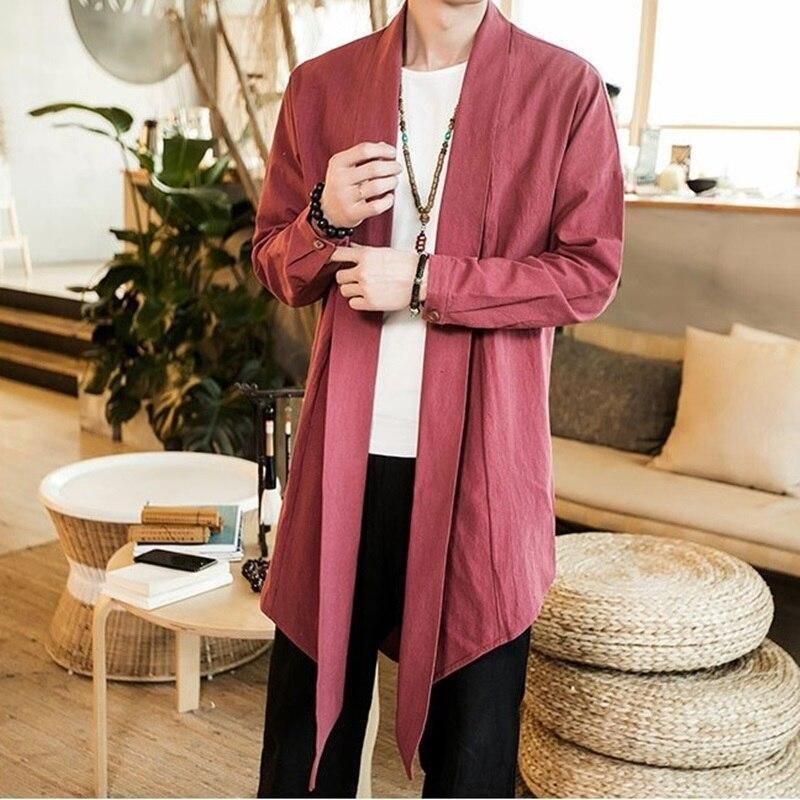 Long kimono jacket red color front view