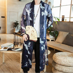 Long kimono style jacket with fan front view
