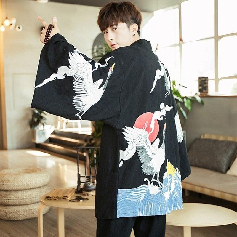 Long sleeve kimono jacket black color back side view