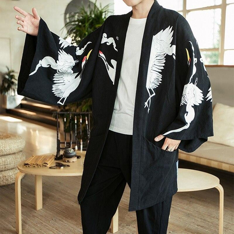 Long sleeve kimono jacket black color front view