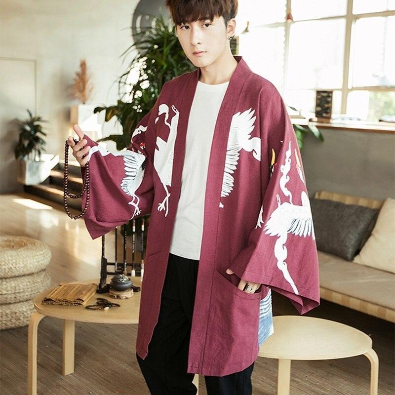 Long sleeve kimono jacket red color front view