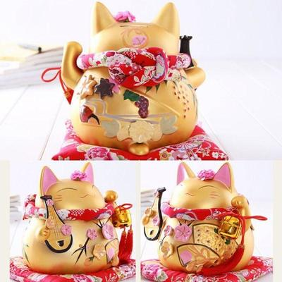 japanese Maneki Neko Golden Money Box Biwa