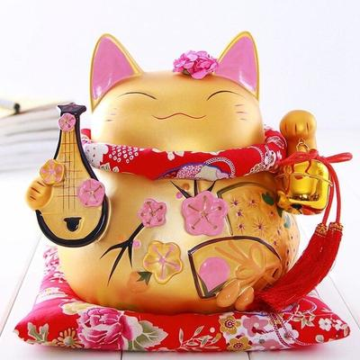 Maneki Neko Golden Money Box Biwa
