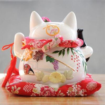 Maneki Neko Money Box White back view