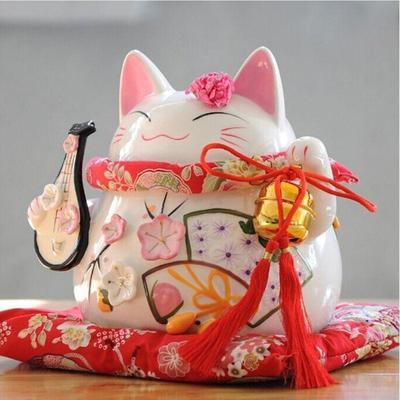 japanese Maneki Neko Money Box White for hold