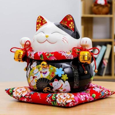 japanese Maneki Neko Money Box Black