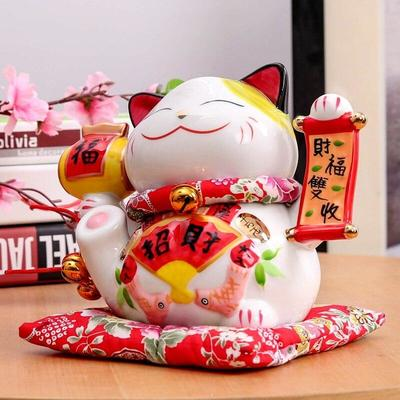 Japanese Maneki Neko Money Box Parchment