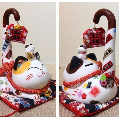 japanese Maneki Neko Money Box Long Tail back view, for holding money
