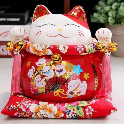 Maneki Neko Money Box - Red