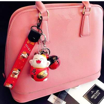 Maneki Neko Japanese Cat Keychain for bag
