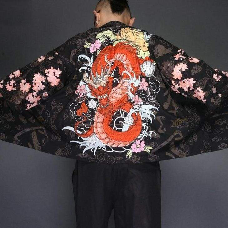 Red imperial dragon kimono jacket back view & close up on pattern