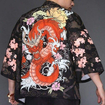 Red imperial dragon kimono jacket back view
