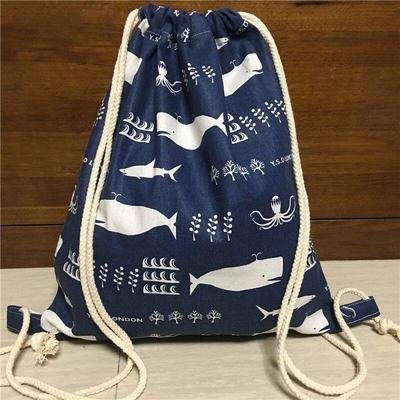 Japanese Whale Pattern Backpack