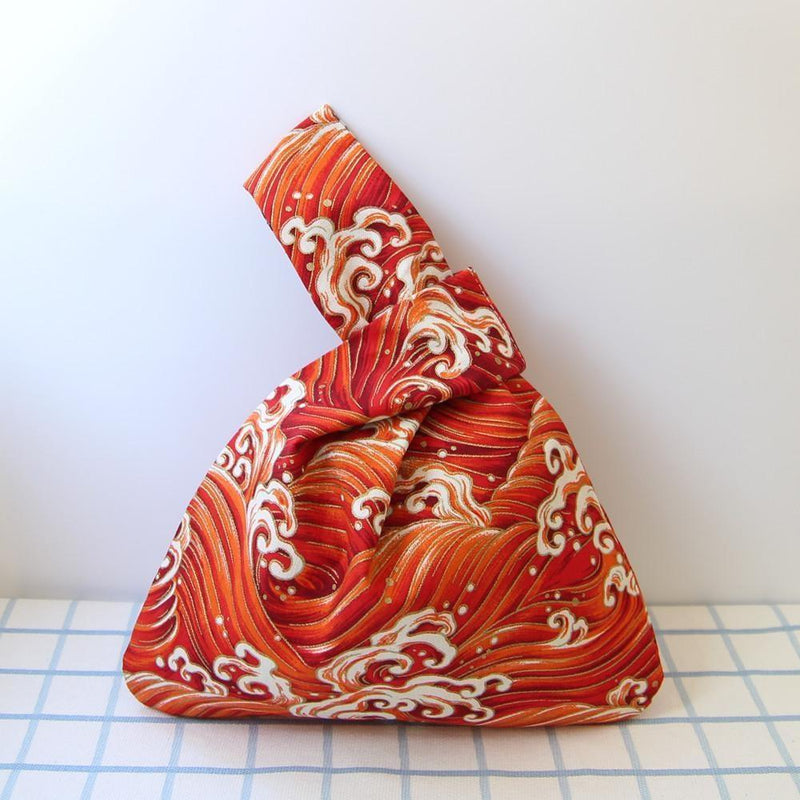 original Japanese Araumi Printed Bag Red waves