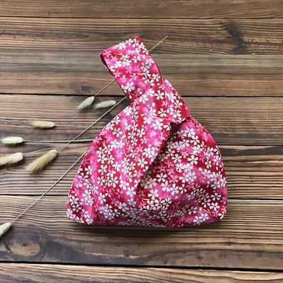 Japanese Sakura Print Bag with flowers and pink color