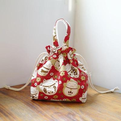 Japanese Kinchaku Bag - Red Maneki Neko