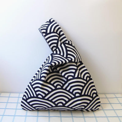 Japanese Seigaiha Pattern black and white Bag