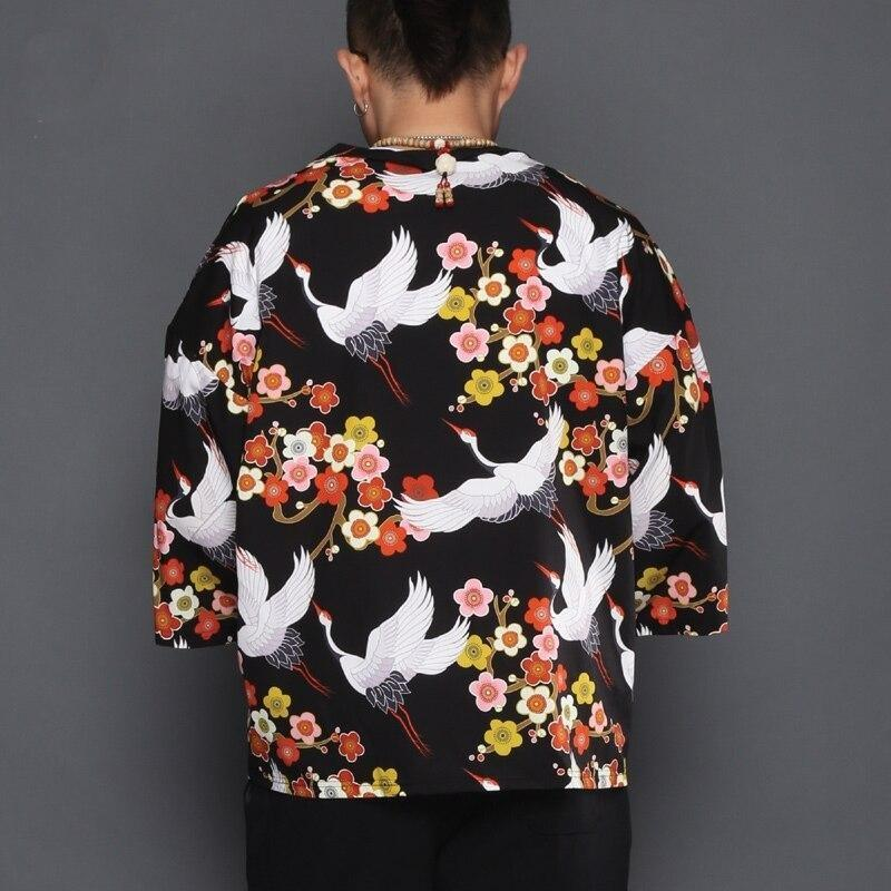 Sakura and crane pattern black short kimono jacket back view
