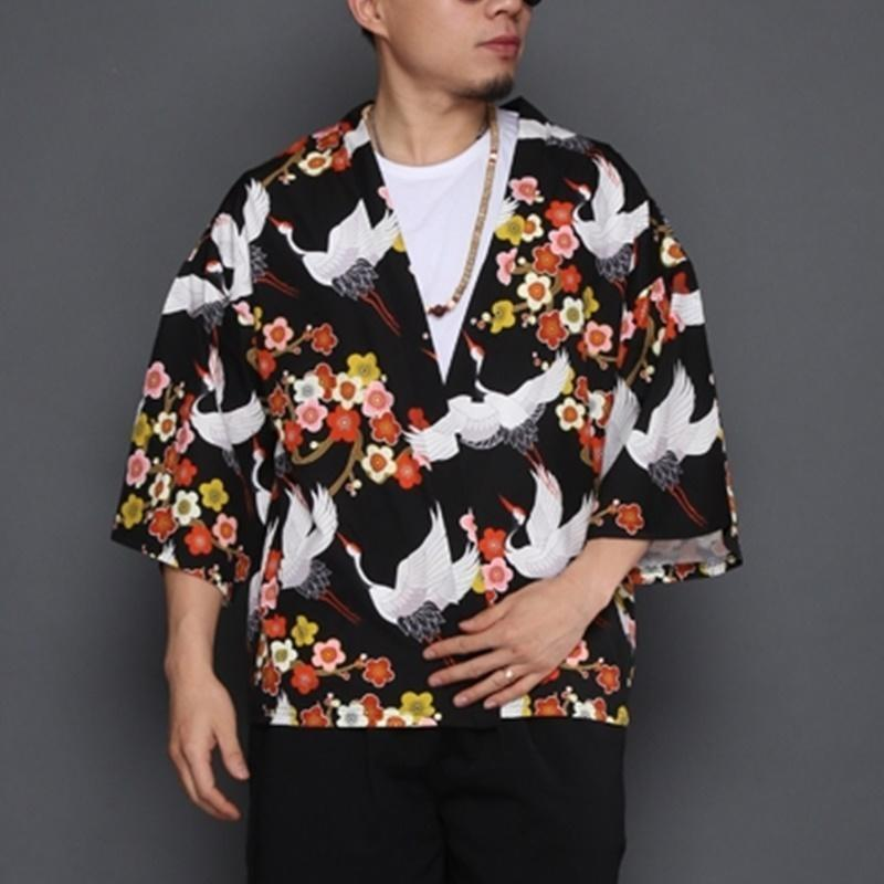 Sakura and crane pattern black short kimono jacket front view