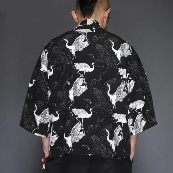 Short black kimono jacket with crane pattern back view